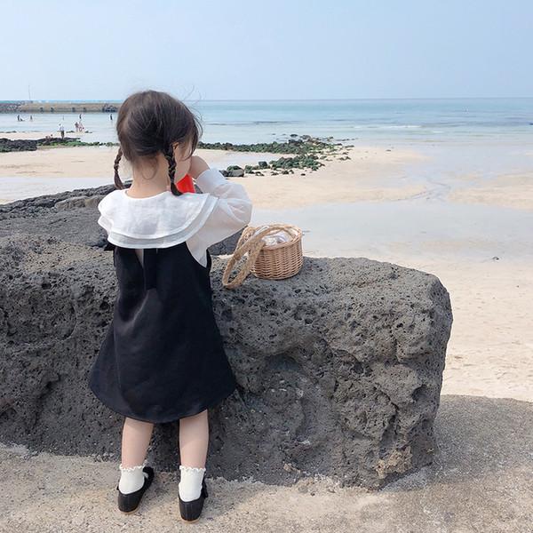 Moda primavera Outono meninas Tencel rami camada dupla de colarinho camisa branca e vestido escorregar preto 2pcs se adapte às crianças roupas