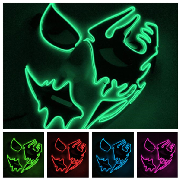 Luminous El cold light ghost mask hand-painted LED mask face Cosplay costume party mask street dance Halloween carnival toys T2I5113