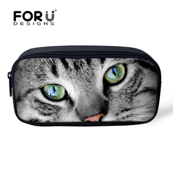 Wholetide- Cute 2d Animal Cat Cosmetic Bags Small Portable Make Up Bag For Women Zipper Pencil Case Fashion Risl Children Pen Box