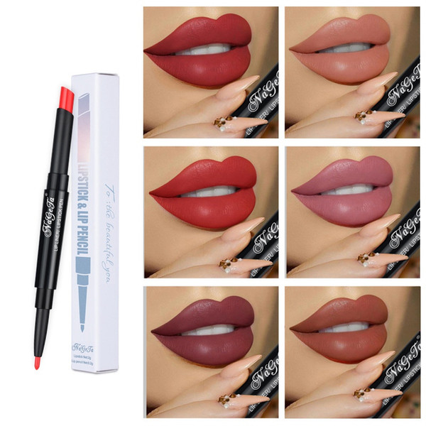 12 Colors Hot Sell Double-Ended Lipstick With Lip Liner Half Matte Moisturizing Lipstick Lip Beauty Makeup Woman Cosmetic Long Lasting