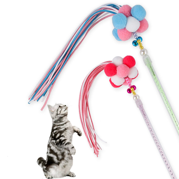 best selling 2019 New Pet Toy Korean Bell Velvet Ball Feather Playing Candy Color Tassel Fairy Funny Cat Stick Wholesale Free Shipping