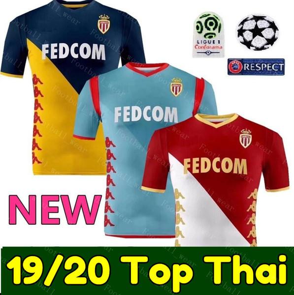19 20 Monaco Soccer Jersey 2019 2020 BEN YEDDER FALCAO FABREGAS GOLOVIN JOVETIC GLIK CHADLI Monaco maglia uniforme calcio maglia