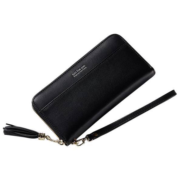 Long Wallet Women Purses Tassel Fashion Coin Purse Card Holder Wallet Solid Color Wallets Lady Tassel Wristlet Wrist strap Purse