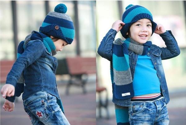 2019 Suit Kids Scarf Set Luxury Knitted Winter Hat Warm Crochet Scarves Outdoor Ski 2 Piece Hat Sets for Girls Boys Child Button stripe