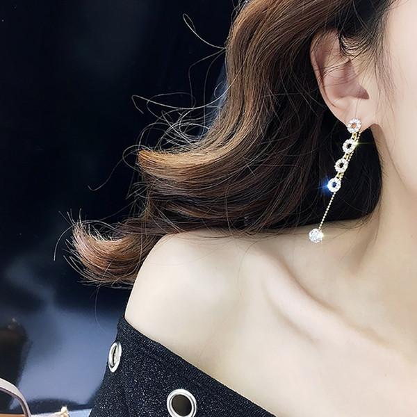 New Style Crystal Zircon Circle Tassel Earrings Rhinestone Ball Link Chain Drop Dangle Earrings Jewelry Gift For Woman