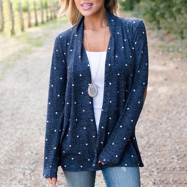 Women's Clothing Plus Size Casual Long Sleeve Spot Printed Cardigan Coat