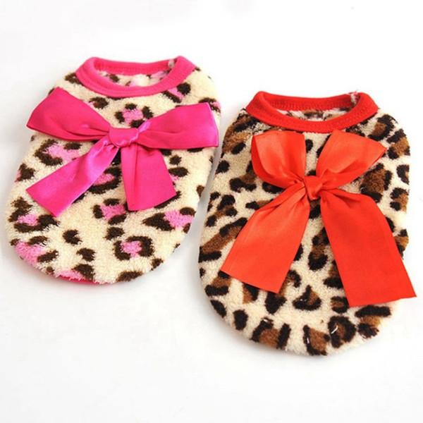 Leisure Soft Dog Clothes Cotton Leopard Print Pattern Pet Vests For Winter Keep Warm Dress Factory Direct Sale 6bx BB