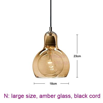 large, amber glass, black cord