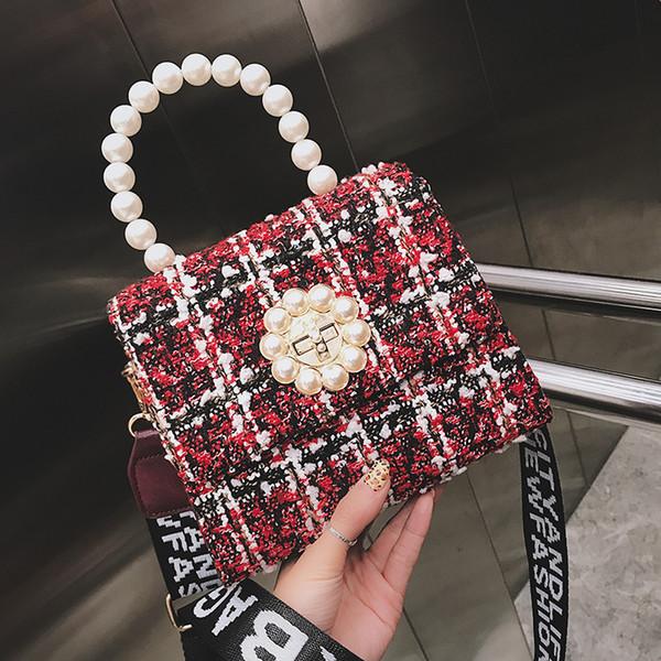 Plaid wool totes Pearl handle Weaving women messenger bags designer handbags circle lock shoulder Crossbody bag fashion handbag