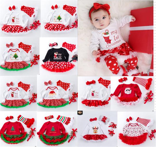 Natal bebê meninas macacão 4 PCS Set Toddler Babysuit Tutu Vestido de meia Bowknot Headband prewalker xmas Polka Dot vestidos Infantis venda