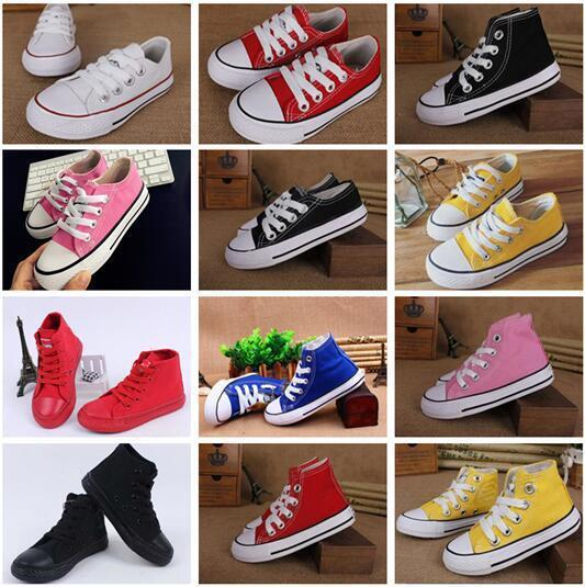 Hot dorp shipping Boy&girl Children's Canvas Shoes kids Cute Leisure Sports Shoes low & high top Rubber Bottom 10colors size 24-34