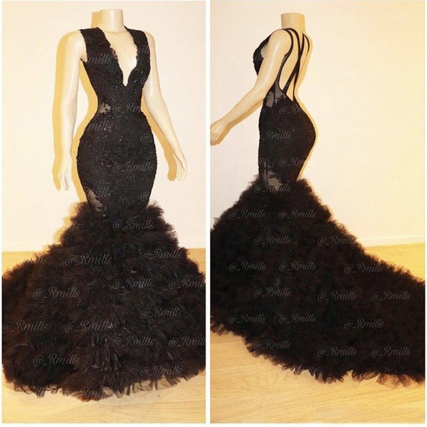 Real Images Black Ruffles Prom Dresses Mermaid Custom Made Sexy Backless Criss Cross V-neck Sweep Train Evening Gowns Formal Dresses