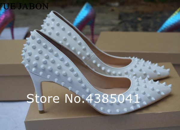 Real Pictures Pointed Toe Thin High Heels Sexy White Rivets Spike Women Party Shoes Classical Studs Lady Party Wedding Shoes