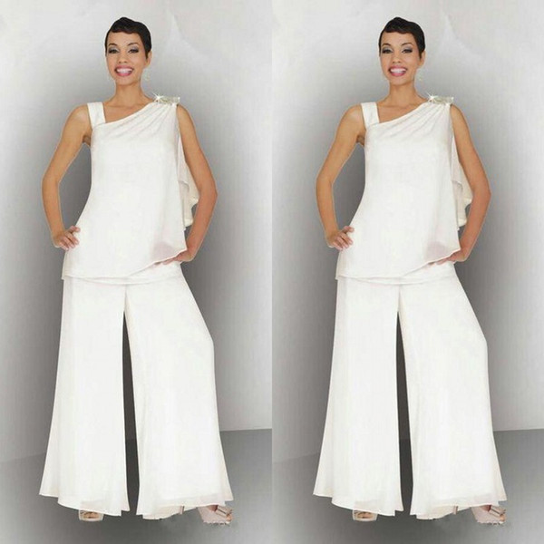 elegant 2018 mother of the bride chiffon pant suits for summer wedding asymmetrical neckline white ivory beach mother of the groom dresses