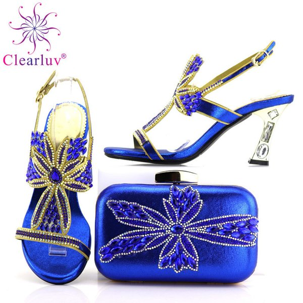 BaoYaFang New turquoise blue Crystal Womens Wedding shoes with macthing bags high heels platform shoes and bags woman High shoe