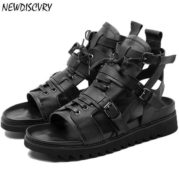 Genuine Leather Gladiator Punk Men's Sandals 2019 Summer Italian Flat Platform Men Beach Sandal Lace Up Strap Brand Man Shoes