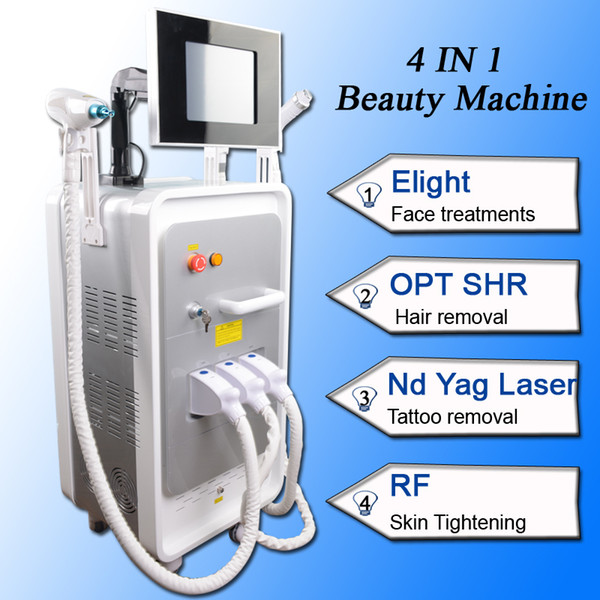 4 IN 1 shr hair removal treatment shr elight ipl machine acne removal nd yag laser tattoo Mole Spots Removal machine for home