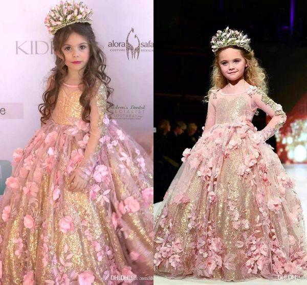2019 Princesa Cuello Redondo Una línea de tul Vestidos de niña de flores con lentejuelas doradas Mangas largas de encaje Vestidos de niñas Vestidos de desfile BC2069