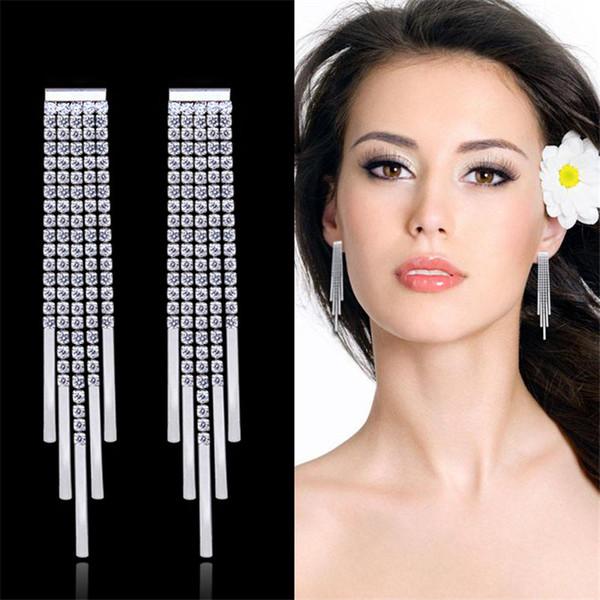 Western Ladies Diamond Long Tassel Earrings S925 Silver Pin Claw Chain Zircon Earrings Fashion Popular Wild Earrings