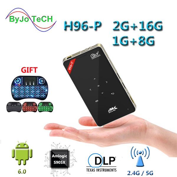 top popular ByJoTeCH H96-P Projector 1G 8G Or 2G 16G Mini Portable pocket Projector DLP Projector Android proyector Home theater system H96p 2019