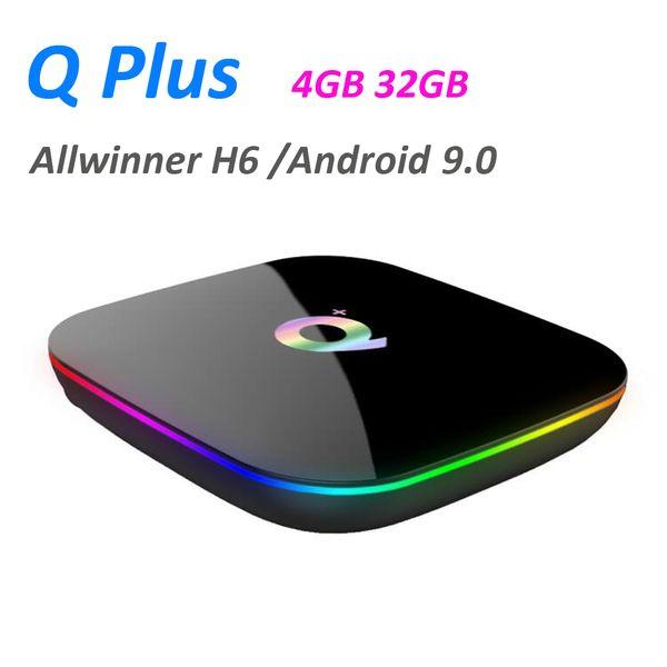 Q PLUS 4GB 32GB allwinner H6 android 9.0 tv box streaming set top box H.265 6K Google Player Store Netflix media player