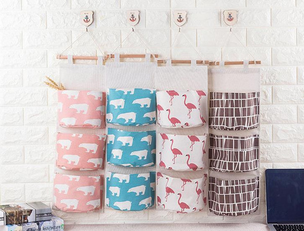 Hanging Organizers 3 Grid Wall Door Hanging Organizer Container flamingo Organizer Storage Bag Sundries Organizer Pouch DC741