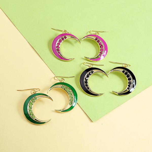 Bohemia Shiny Crystal Enamel Moon Drop Earring For Women Ethnic Charm Earrings Gift Jewelry Wholesale Accessories in box