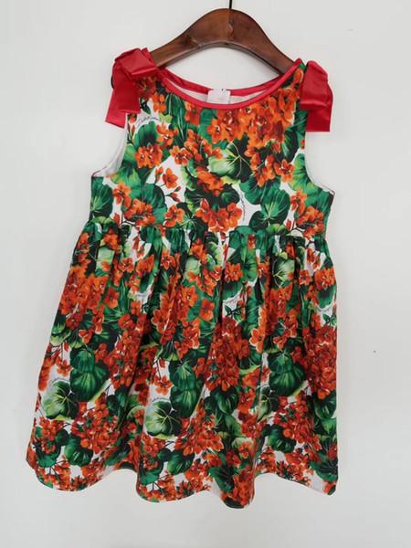 Kinder Mädchen drucken Blumenkleider Baby Mädchen Sommer Prinzessin Kleid Großhandel Kleidung