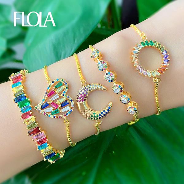 FLOLA Rainbow Cuff Bracelet for Women CZ Baguette Cheap Bangle Bracelet Yellow Gold Rainbow Jewelry Pulsera arcoiris 2019 brtb58