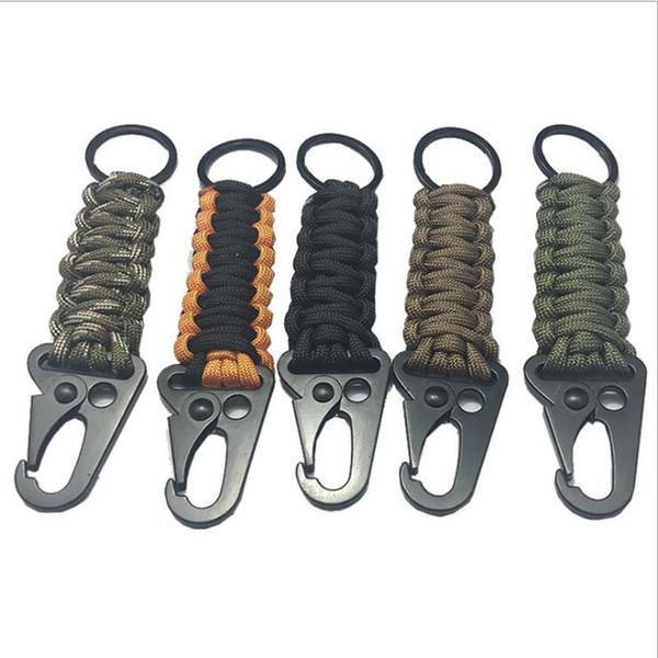 Keychain EDC Paracord Seil Schlüsselanhänger Outdoor-Camping Survival Kit Militär-Fallschirm-Notfall-Knoten Schlüsselanhänger Ring Camping Karabiner TL937