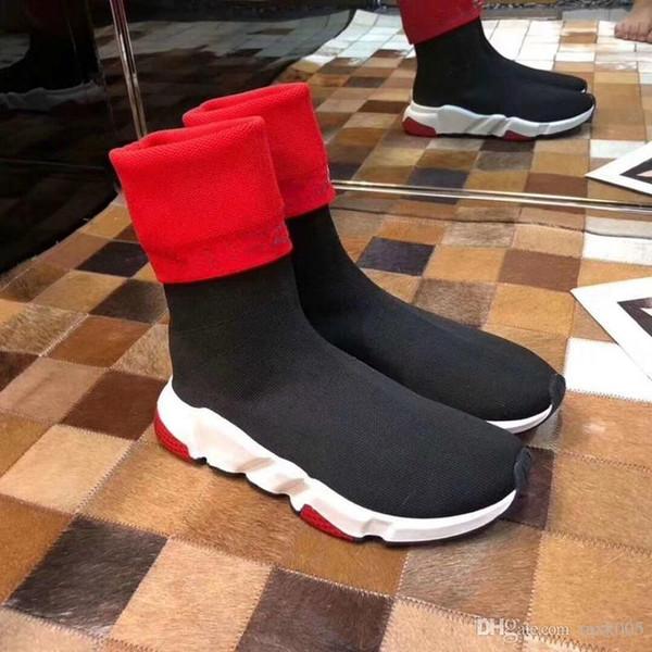 Calcetín de los zapatos del diseñador de moda Zapatos de la velocidad de las mujeres botas de las zapatillas de deporte zapatos del diseñador Trainer s Calcetines Carrera Participantes del zapato negro fz01 Mujer Hombre sho