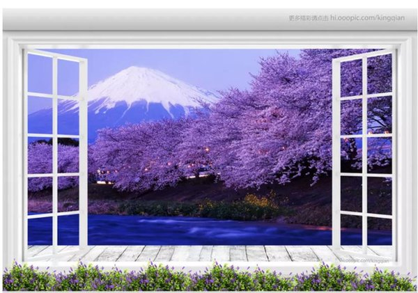 Customized Wallpaper For Walls Floor To Ceiling Windows Mt Fuji Cherry Blossom Landscape 3d Background Wall Wallpaper Free Desktop Wallpaper Free