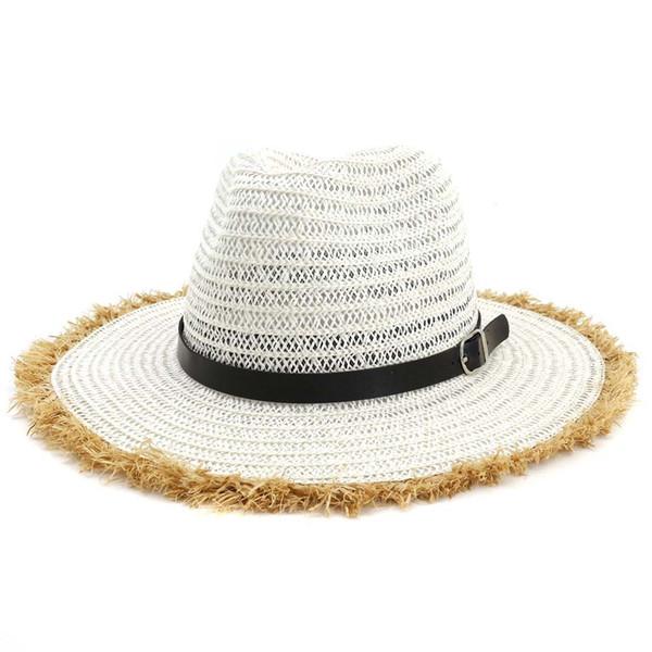 Fashion Unisex Men Women Travel Jazz Caps Wide Furry Brim Summer Beach Cowboy Sun Fedora Panama Paper Straw Hat with Belt Buckle