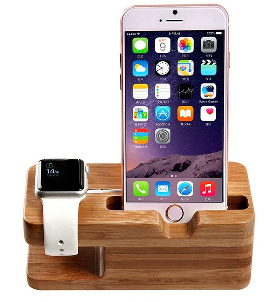 Watch Stand, iWatch Bamboo Wood Charging Dock Charge Station Stock Cradle Holder for Apple Watch & iPhone X/XS/XR/ 8 Plus/ 8/7 Plus