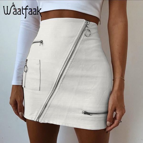 0ec393e41 Compre Waatfaak Pu Faldas De Cuero Para Mujer Con Cremallera Dividir  Bolsillo Sólido Blanco Bodycon Delgado De Cintura Alta Mini Falda Lápiz  Moda ...