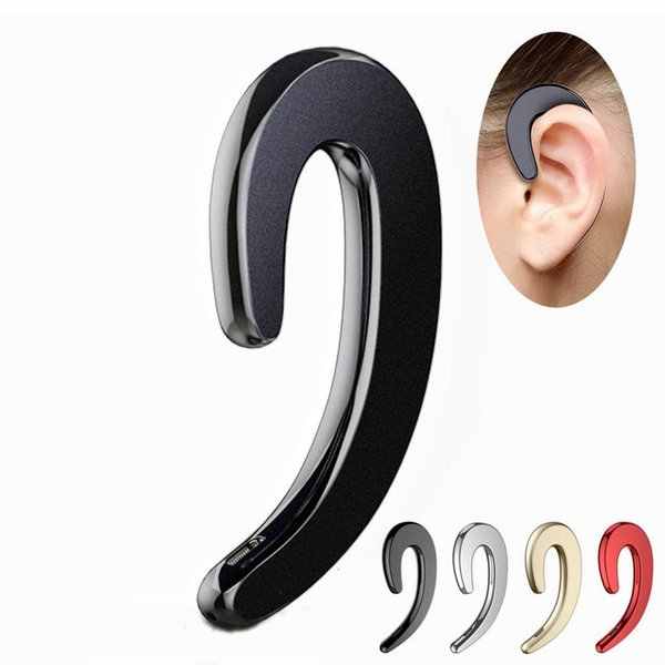 New Ear-Hook Wireless Headphones Non Ear Plug Noise Cancelling Earpiece with Mic Bluetooth Headset Painless Wearing Earphones for Cell Phone