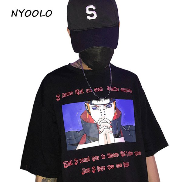 Nyoolo Novelty Style Naruto Anime Letters Print T Shirt 2018 Summer Short Sleeve T-shirt Women/men Clothing Tops Tee Y19042501