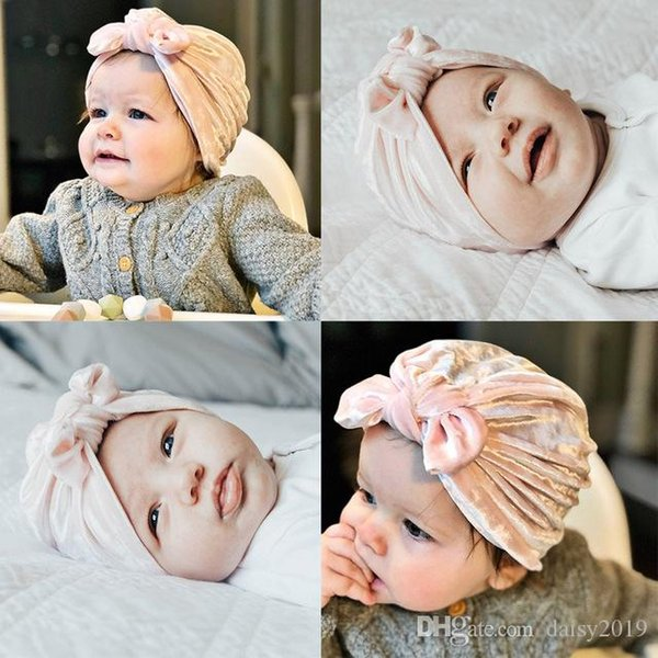 Encantador Oreja de Conejo Bebé Sombreros Niños Niños Niños Niñas Top Nudo Gorros Sombreros Gorros Toddler Soft Flannel Warm Winter Cap Bonnet