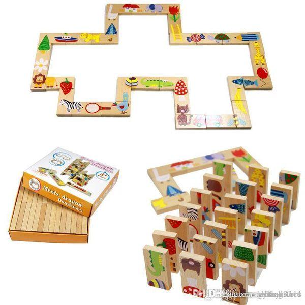 ХТ hxldoor Wholesale-28pcs Детские игрушки Деревянные игрушки животных Домино Пазлы высокого качества Развивающие игрушки для младенца подарка дня рождения