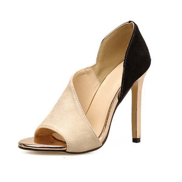 Sexy pumps woman summer 2019 high heels pumps shoes color block high heel sandals peep toe , women stiletto shoes .LX-101