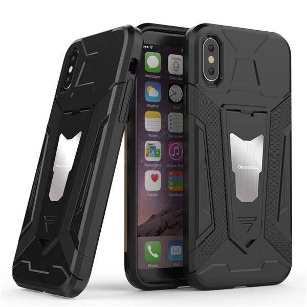 Estuche para teléfono móvil con soporte para automóvil invisible para iPhone XS XR IPhone 6 7 8 Plus Estuche para teléfono con anillo de cinturón resistente a roturas 2 en 1