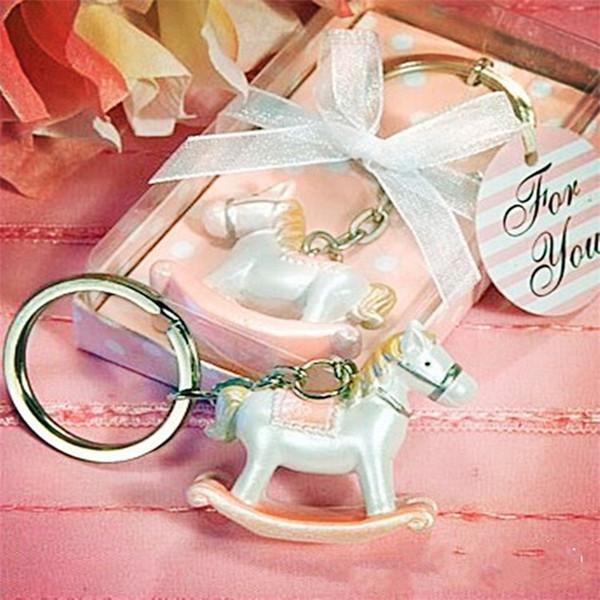 Harz Baby Shower Favors schlüsselanhänger Trojaner Pferd Schnalle Cartoon Tragbare Ring Hochzeitsfeier Empfindliche Schlüssel Schnallen Heißer Verkauf