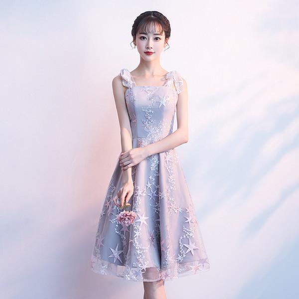 Vestidos curtos da dama de honra do cinza de prata vestidos do convidado do partido de casamento Stars o vestido de dama de honra do vestido Correias de espaguete