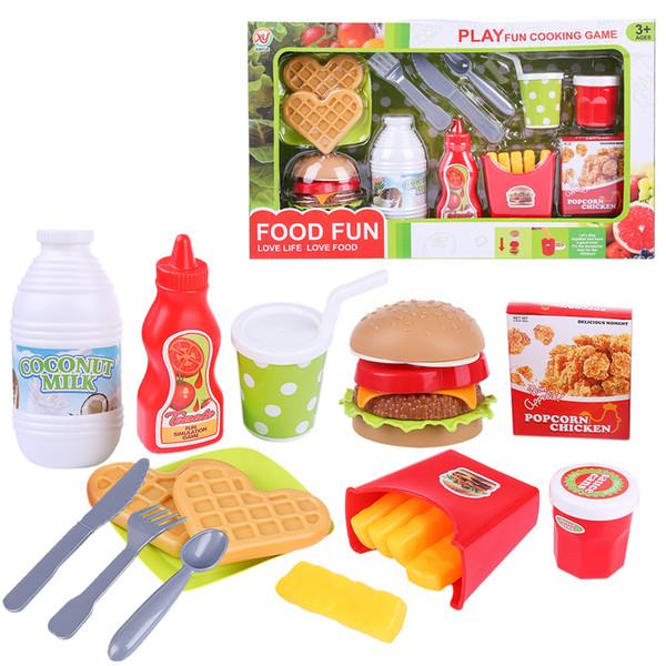 13pcs / set jouer semblant Hamburger Fast Food Playset jouets éducatifs pour enfants cadeau d'anniversaire