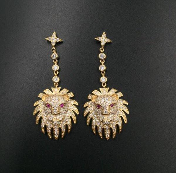 New brand lion head earrings exaggerated temperament hipsters wild micro-inlaid zircon domineering earrings S925 fashion accessories