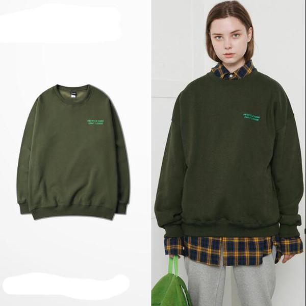 Armée de lettres vertes hommes version coréenne de la marque de marée en vrac hip-hop veste hommes femmes autour du cou copines quelques Hoodies femmes