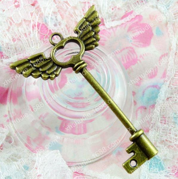 30pcs 59.5*41.5MM Antique bronze tibetan alloy wing key charms for bracelet vintage metal pendant for earring handmade DIY jewelry making