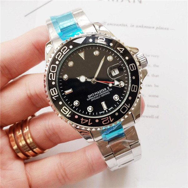 Luxury watch Gent's GMT II quartz wristwatch Self Wind Watches Stainless Steel Dive White Black Silver Master 44mm fashion Mens Watch