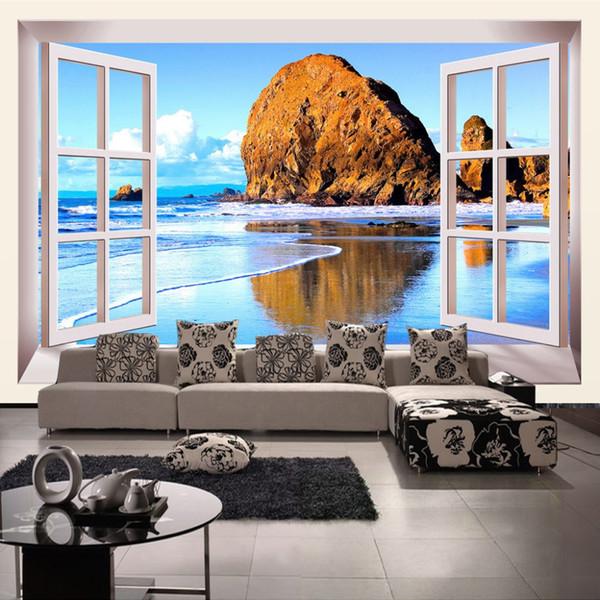 Benutzerdefinierte Fototapete 3D stereoskopische Fenster Strand Landschaft Wohnzimmer TV Hintergrund Wandbild Tapete Papel Pintado