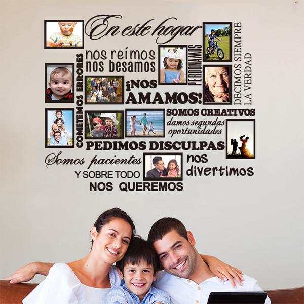 가족 사진 프레임 벽 스티커 스페인어 집 우리는 당신이 아플리케 벽 아티스트 체류 장식 DW1006ES CJ191213 벽 비닐 사랑 규칙